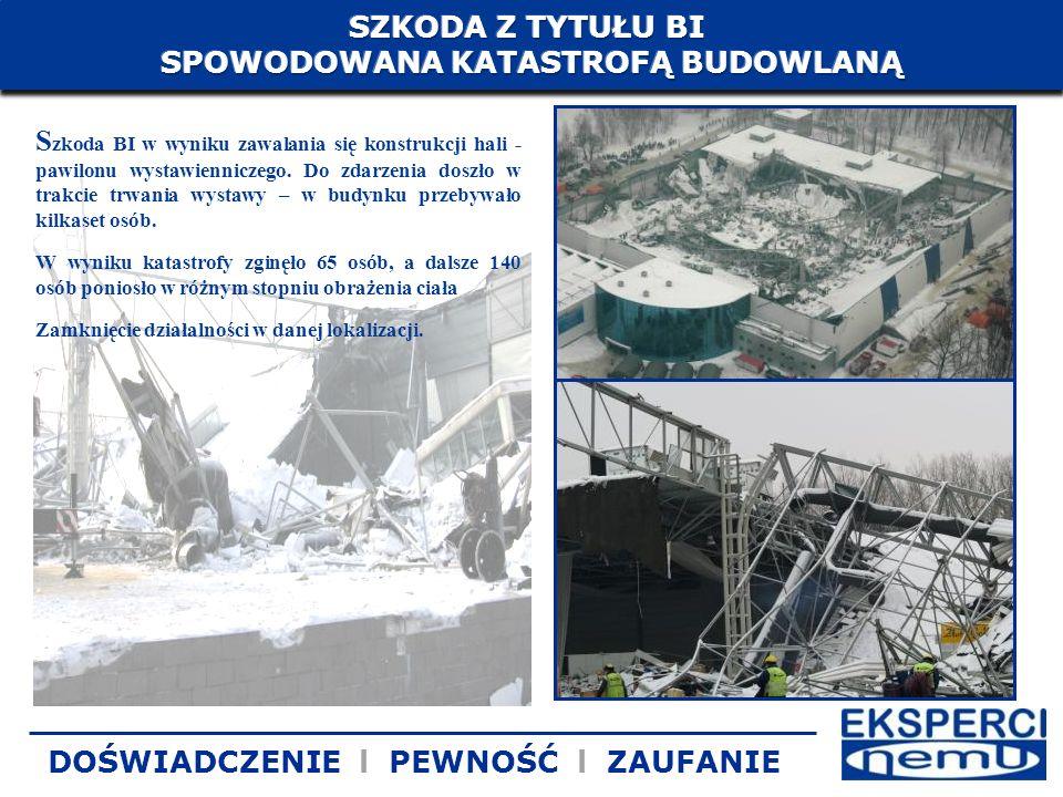 S zkoda BI w wyniku zawalania się konstrukcji hali - pawilonu wystawienniczego. Do zdarzenia doszło w trakcie trwania wystawy – w budynku przebywało k