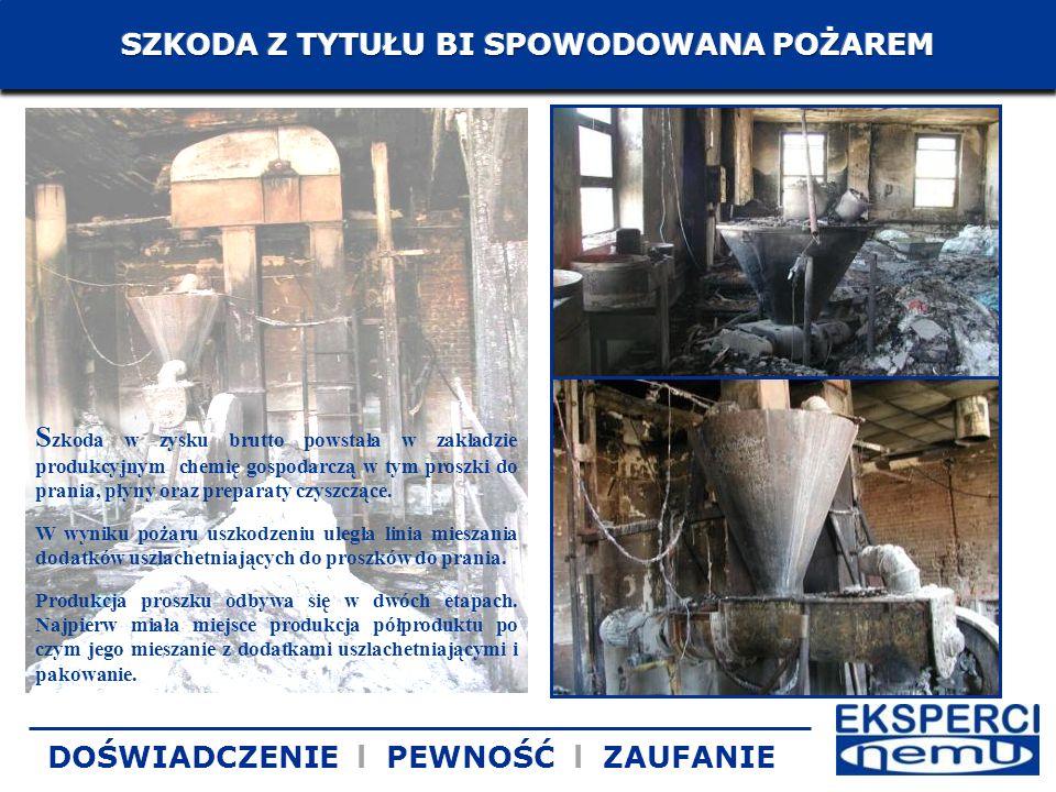 S zkoda w zysku brutto powstała w zakładzie produkcyjnym chemię gospodarczą w tym proszki do prania, płyny oraz preparaty czyszczące. W wyniku pożaru
