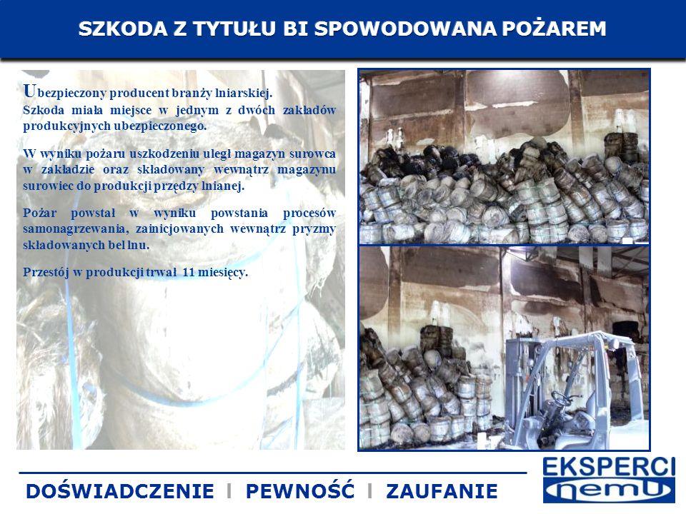 U bezpieczony producent branży lniarskiej. Szkoda miała miejsce w jednym z dwóch zakładów produkcyjnych ubezpieczonego. W wyniku pożaru uszkodzeniu ul