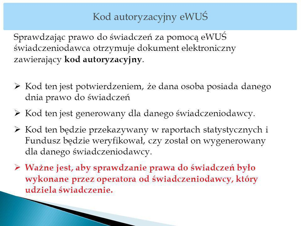 Sprawdzając prawo do świadczeń za pomocą eWUŚ świadczeniodawca otrzymuje dokument elektroniczny zawierający kod autoryzacyjny. Kod ten jest potwierdze