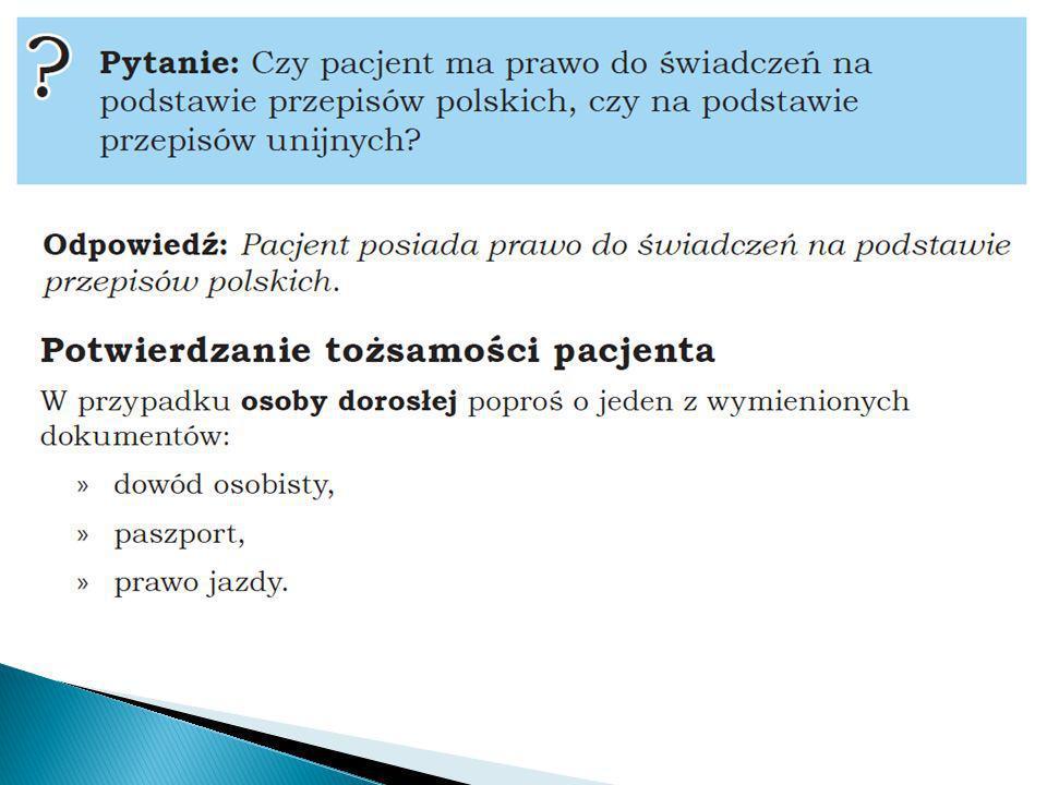 hospitalizacja Dzień 1 Dzień 2 Dzień11 Dzień 12 Zestaw świadczeń Świadczenie (pobyt) Produkt (JGP) Uprawnienia eWUŚ Oświadczenie Decyzja Wójta/Burmistrza UE Dokument uprawniający Okresy uprawnienia