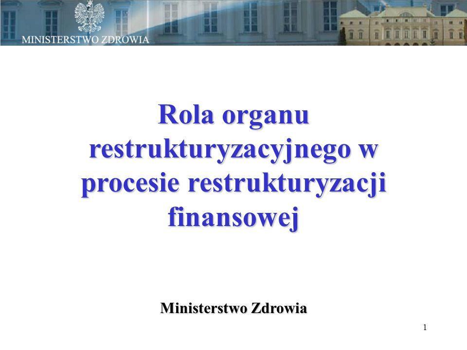 1 Rola organu restrukturyzacyjnego w procesie restrukturyzacji finansowej Ministerstwo Zdrowia