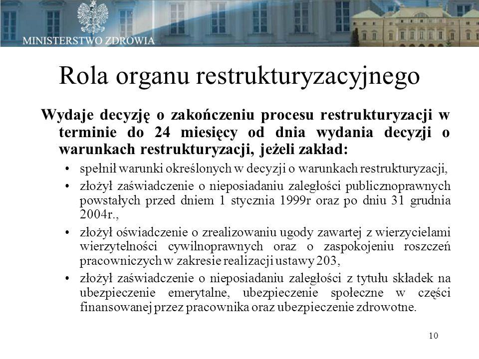 10 Rola organu restrukturyzacyjnego Wydaje decyzję o zakończeniu procesu restrukturyzacji w terminie do 24 miesięcy od dnia wydania decyzji o warunkach restrukturyzacji, jeżeli zakład: spełnił warunki określonych w decyzji o warunkach restrukturyzacji, złożył zaświadczenie o nieposiadaniu zaległości publicznoprawnych powstałych przed dniem 1 stycznia 1999r oraz po dniu 31 grudnia 2004r., złożył oświadczenie o zrealizowaniu ugody zawartej z wierzycielami wierzytelności cywilnoprawnych oraz o zaspokojeniu roszczeń pracowniczych w zakresie realizacji ustawy 203, złożył zaświadczenie o nieposiadaniu zaległości z tytułu składek na ubezpieczenie emerytalne, ubezpieczenie społeczne w części finansowanej przez pracownika oraz ubezpieczenie zdrowotne.