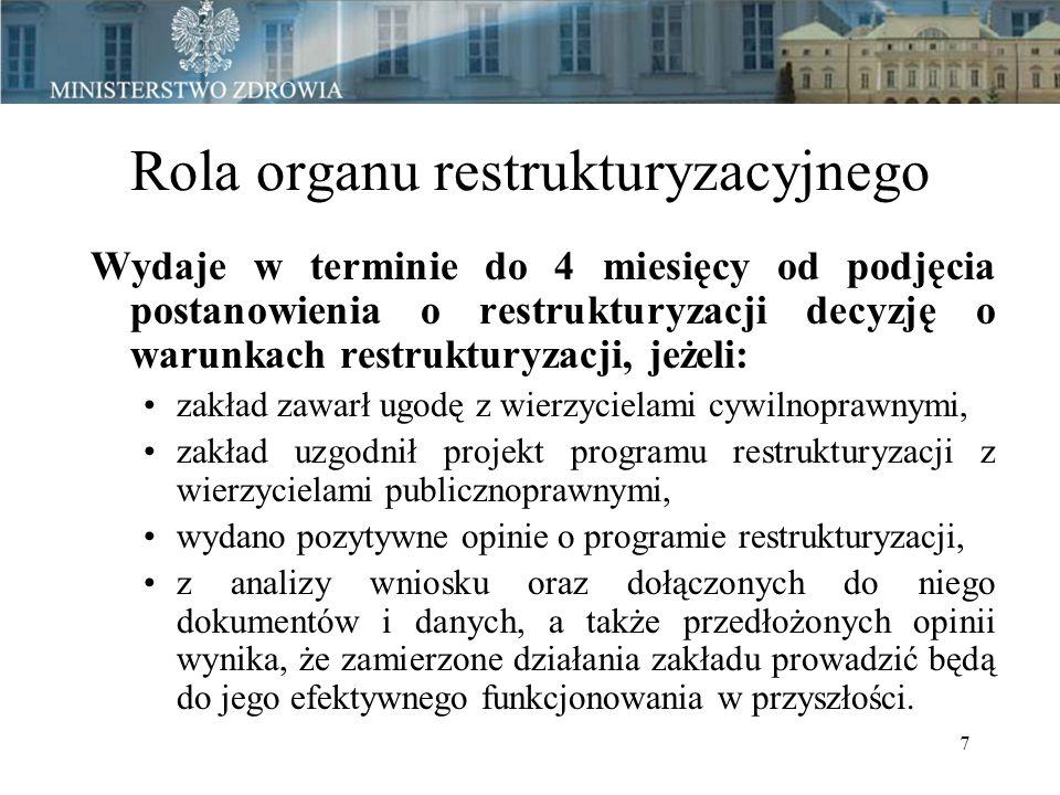 7 Rola organu restrukturyzacyjnego Wydaje w terminie do 4 miesięcy od podjęcia postanowienia o restrukturyzacji decyzję o warunkach restrukturyzacji, jeżeli: zakład zawarł ugodę z wierzycielami cywilnoprawnymi, zakład uzgodnił projekt programu restrukturyzacji z wierzycielami publicznoprawnymi, wydano pozytywne opinie o programie restrukturyzacji, z analizy wniosku oraz dołączonych do niego dokumentów i danych, a także przedłożonych opinii wynika, że zamierzone działania zakładu prowadzić będą do jego efektywnego funkcjonowania w przyszłości.