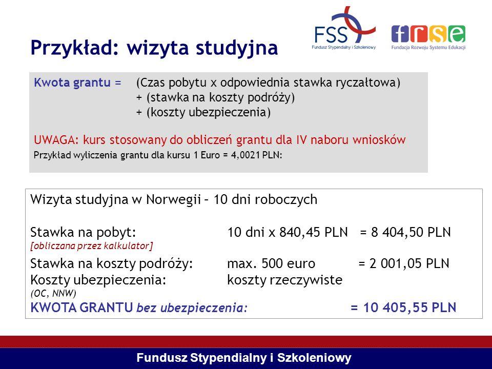 Fundusz Stypendialny i Szkoleniowy Przykład: projekt badawczy Kwota grantu = (Czas pobytu x odpowiednia stawka ryczałtowa) + (stawka na koszty podróży) + (koszty ubezpieczenia) + (koszty instytucjonalne – TYLKO w przypadku projektów badawczych) Kurs zastosowany dla przykładowego wyliczenia grantu FSS: 1 = 4,0021 PLN Projekt badawczy w Norwegii – 48 tygodni (12 m-cy) Stawka na pobyt: 48 tyg.
