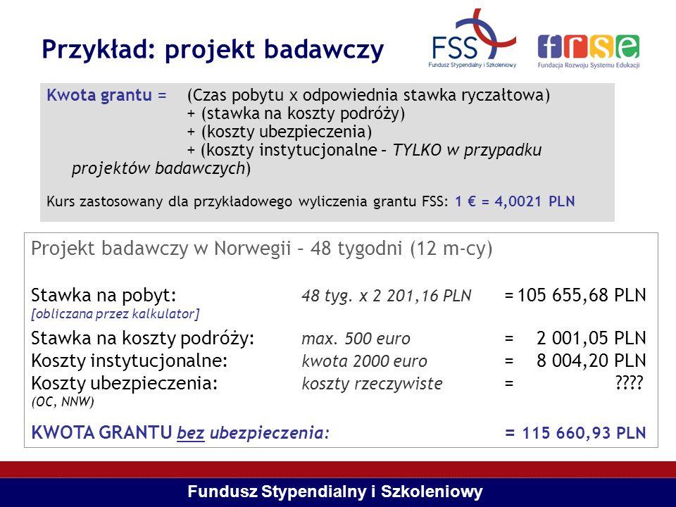 Fundusz Stypendialny i Szkoleniowy Przykład: projekt badawczy Kwota grantu = (Czas pobytu x odpowiednia stawka ryczałtowa) + (stawka na koszty podróży