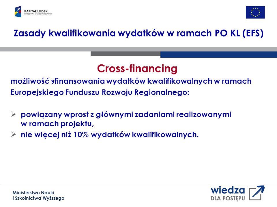 Ministerstwo Nauki i Szkolnictwa Wyższego Cross-financing możliwość sfinansowania wydatków kwalifikowalnych w ramach Europejskiego Funduszu Rozwoju Regionalnego: powiązany wprost z głównymi zadaniami realizowanymi w ramach projektu, nie więcej niż 10% wydatków kwalifikowalnych.