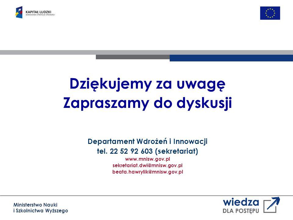 Ministerstwo Nauki i Szkolnictwa Wyższego Dziękujemy za uwagę Zapraszamy do dyskusji Departament Wdrożeń i Innowacji tel.
