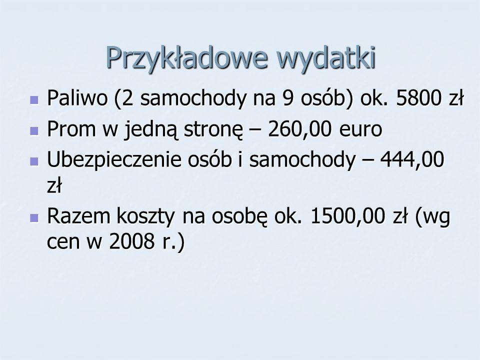 Przykładowe wydatki Paliwo (2 samochody na 9 osób) ok. 5800 zł Paliwo (2 samochody na 9 osób) ok. 5800 zł Prom w jedną stronę – 260,00 euro Prom w jed