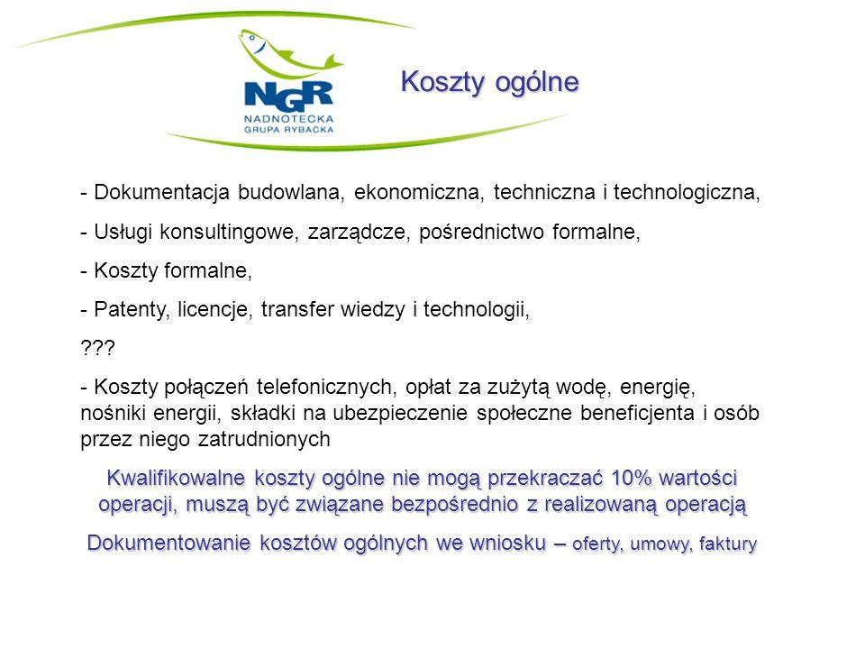 Koszty ogólne - Dokumentacja budowlana, ekonomiczna, techniczna i technologiczna, - Usługi konsultingowe, zarządcze, pośrednictwo formalne, - Koszty formalne, - Patenty, licencje, transfer wiedzy i technologii, ??.