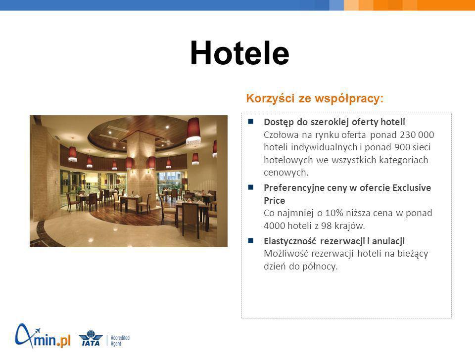 Korzyści ze współpracy: Dostęp do szerokiej oferty hoteli Czołowa na rynku oferta ponad 230 000 hoteli indywidualnych i ponad 900 sieci hotelowych we