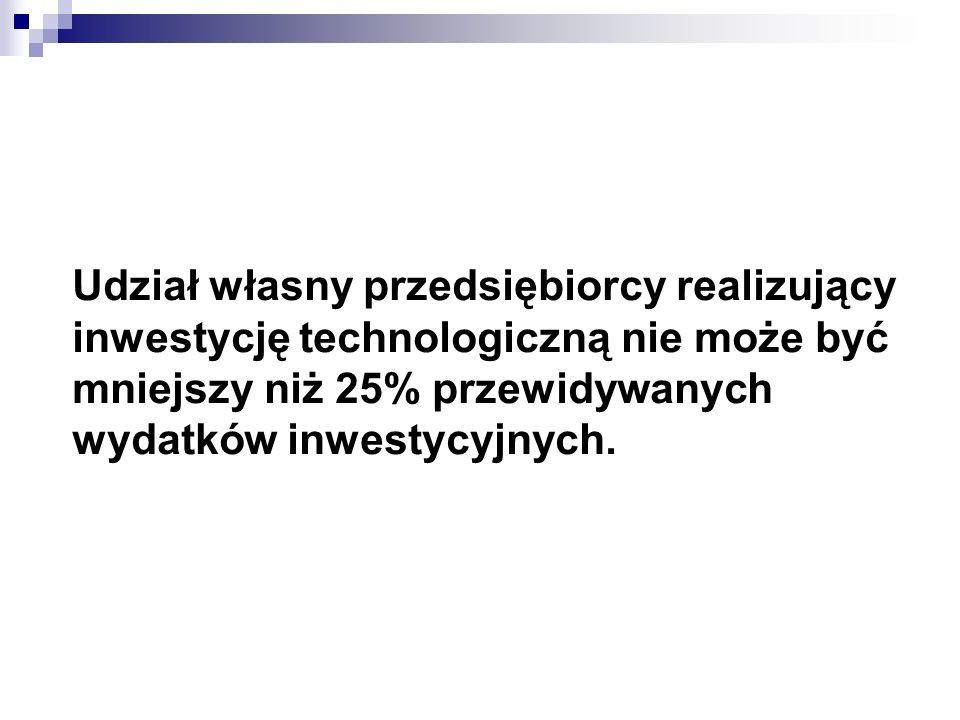 Udział własny przedsiębiorcy realizujący inwestycję technologiczną nie może być mniejszy niż 25% przewidywanych wydatków inwestycyjnych.