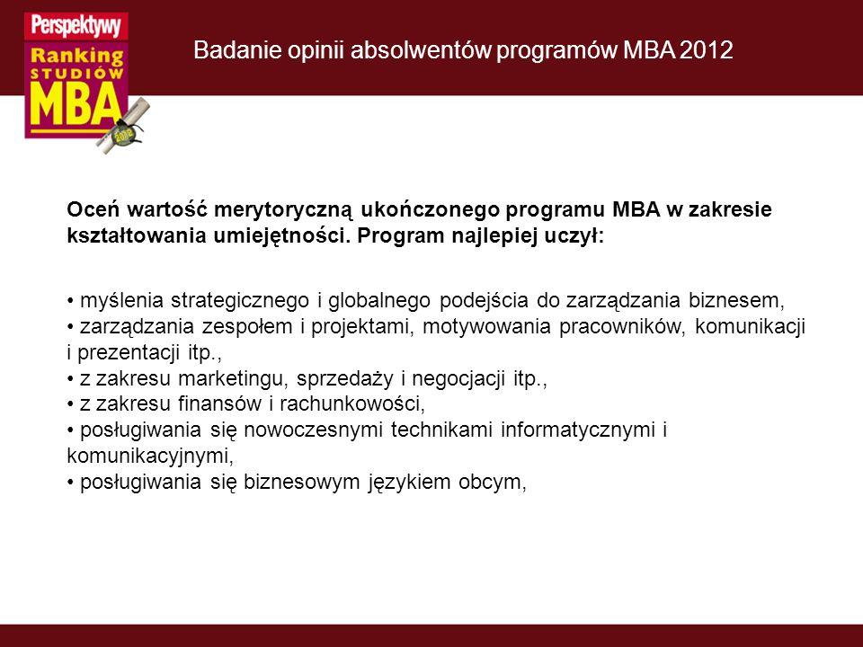 Badanie opinii absolwentów programów MBA 2012 Oceń wartość merytoryczną ukończonego programu MBA w zakresie kształtowania umiejętności.