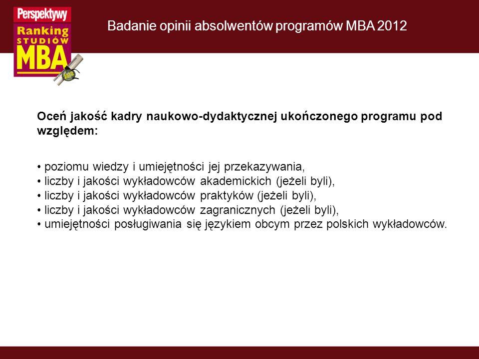 Badanie opinii absolwentów programów MBA 2012 Oceń jakość kadry naukowo-dydaktycznej ukończonego programu pod względem: poziomu wiedzy i umiejętności jej przekazywania, liczby i jakości wykładowców akademickich (jeżeli byli), liczby i jakości wykładowców praktyków (jeżeli byli), liczby i jakości wykładowców zagranicznych (jeżeli byli), umiejętności posługiwania się językiem obcym przez polskich wykładowców.