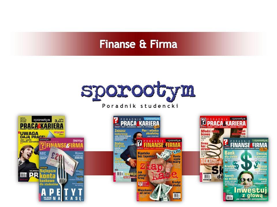 Informacje o tytule Czytelnicy – grupa docelowa Zawartość magazynu Finanse & Firma Reklama Pozostałe produkty studenckie Podsumowanie, kontakt