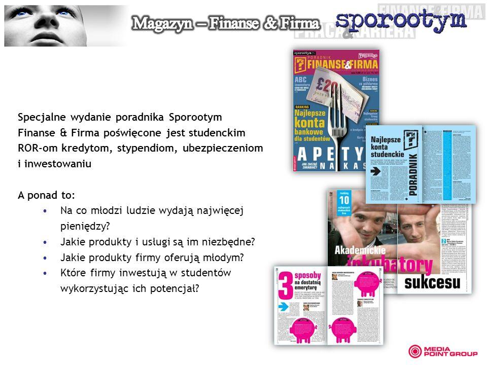 Specjalne wydanie poradnika Sporootym Finanse & Firma poświęcone jest studenckim ROR-om kredytom, stypendiom, ubezpieczeniom i inwestowaniu A ponad to: Na co młodzi ludzie wydają najwięcej pieniędzy.