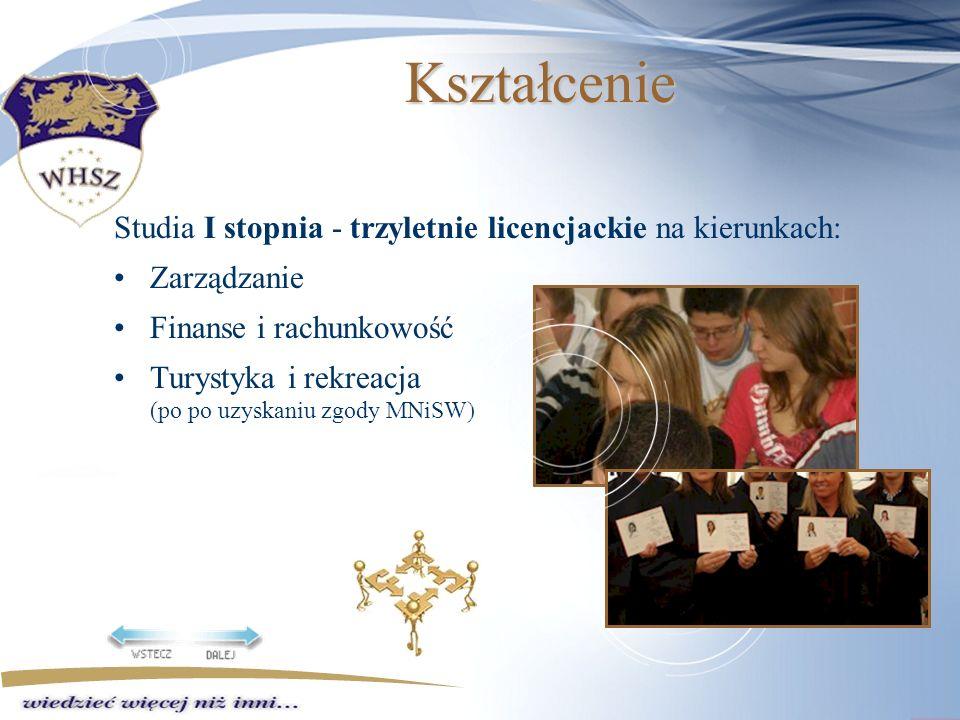 Kształcenie Studia I stopnia - trzyletnie licencjackie na kierunkach: Zarządzanie Finanse i rachunkowość Turystyka i rekreacja (po po uzyskaniu zgody MNiSW)