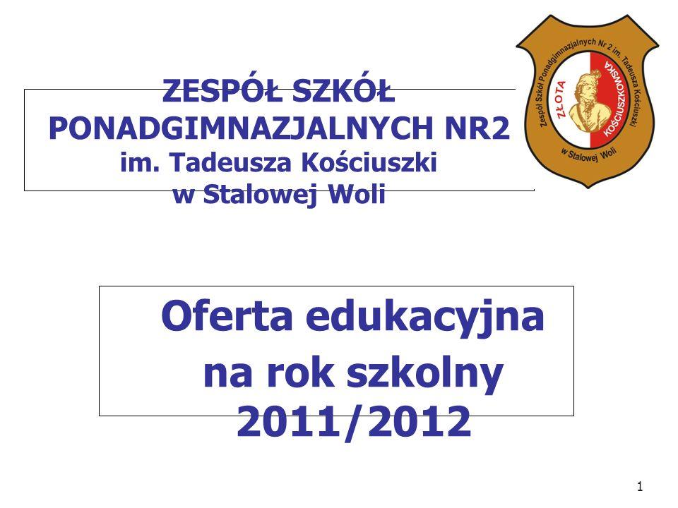 1 ZESPÓŁ SZKÓŁ PONADGIMNAZJALNYCH NR2 im. Tadeusza Kościuszki w Stalowej Woli Oferta edukacyjna na rok szkolny 2011/2012
