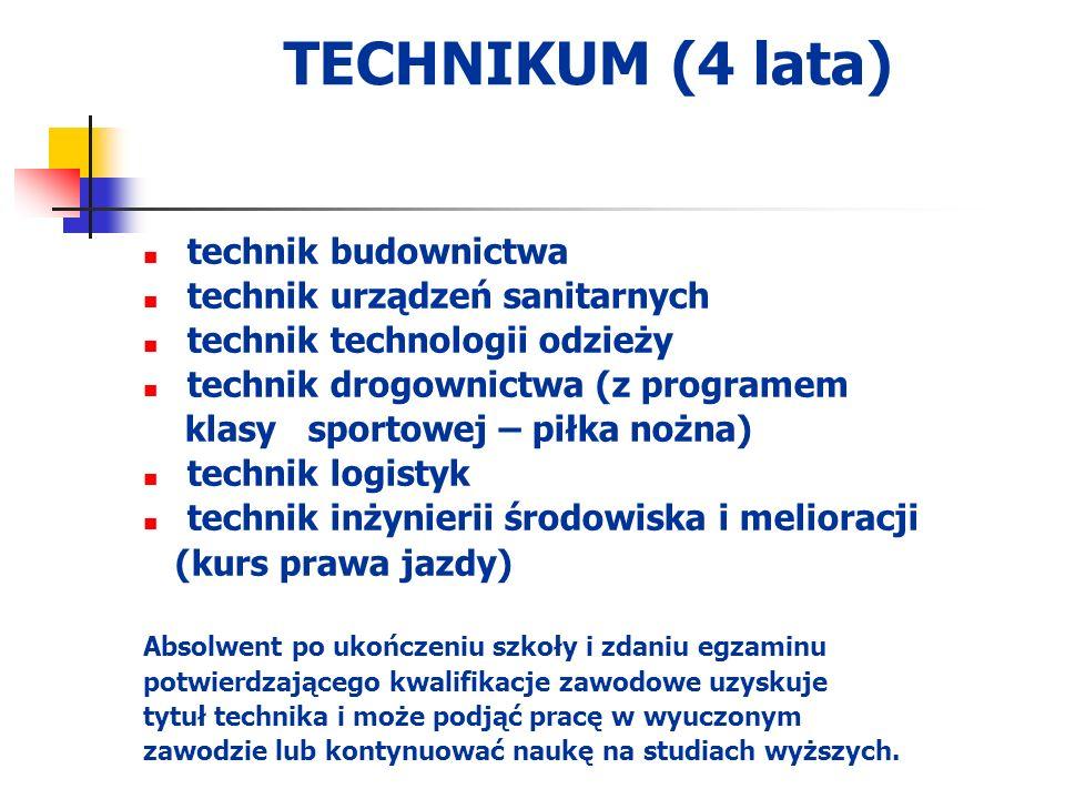 TECHNIKUM (4 lata) technik budownictwa technik urządzeń sanitarnych technik technologii odzieży technik drogownictwa (z programem klasy sportowej – pi