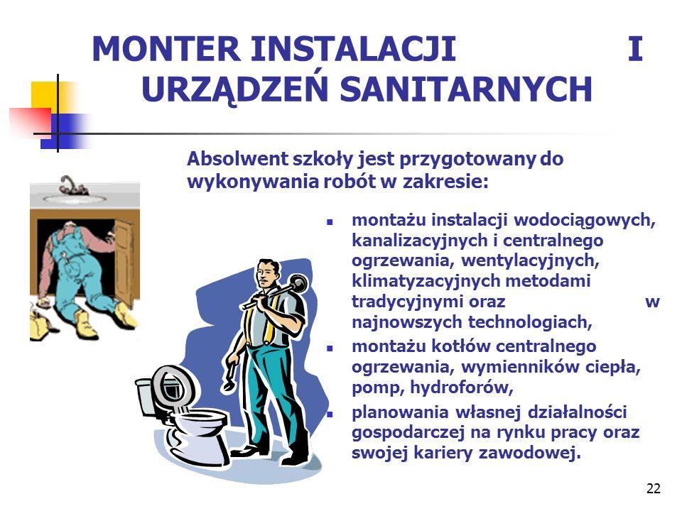 22 MONTER INSTALACJI I URZĄDZEŃ SANITARNYCH montażu instalacji wodociągowych, kanalizacyjnych i centralnego ogrzewania, wentylacyjnych, klimatyzacyjny