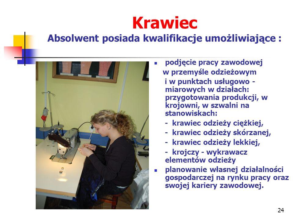 Krawiec Absolwent posiada kwalifikacje umożliwiające : podjęcie pracy zawodowej w przemyśle odzieżowym i w punktach usługowo - miarowych w działach: p