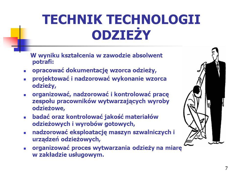 7 TECHNIK TECHNOLOGII ODZIEŻY W wyniku kształcenia w zawodzie absolwent potrafi: opracować dokumentację wzorca odzieży, projektować i nadzorować wykon