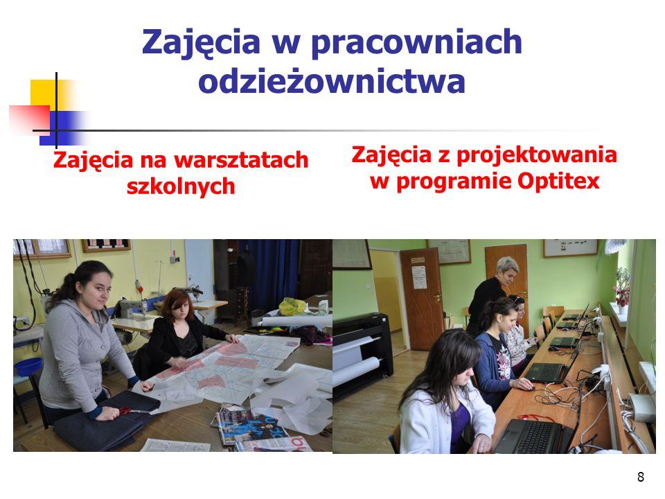 Zajęcia w pracowniach odzieżownictwa Zajęcia na warsztatach szkolnych Zajęcia z projektowania w programie Optitex 8