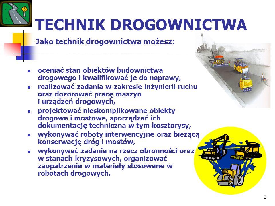 9 TECHNIK DROGOWNICTWA Jako technik drogownictwa możesz: oceniać stan obiektów budownictwa drogowego i kwalifikować je do naprawy, realizować zadania
