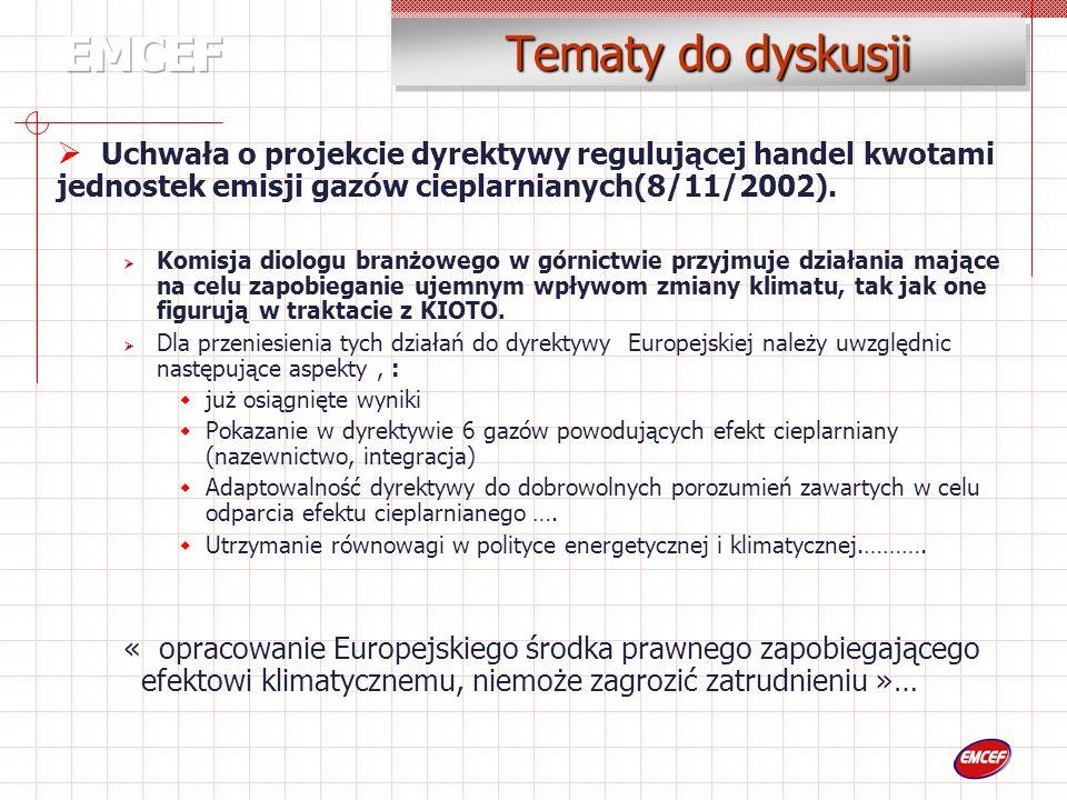 Tematy do dyskusji Uchwała o projekcie dyrektywy regulującej handel kwotami jednostek emisji gazów cieplarnianych(8/11/2002).