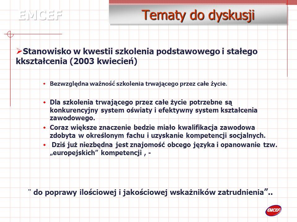 Tematy do dyskusji Stanowisko w kwestii szkolenia podstawowego i stałego kkształcenia (2003 kwiecień) Bezwzględna ważność szkolenia trwającego przez całe życie.