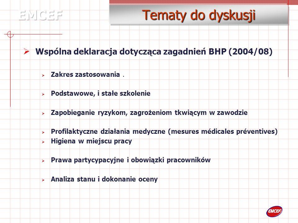 Tematy do dyskusji Wspólna deklaracja dotycząca zagadnień BHP (2004/08) Zakres zastosowania.