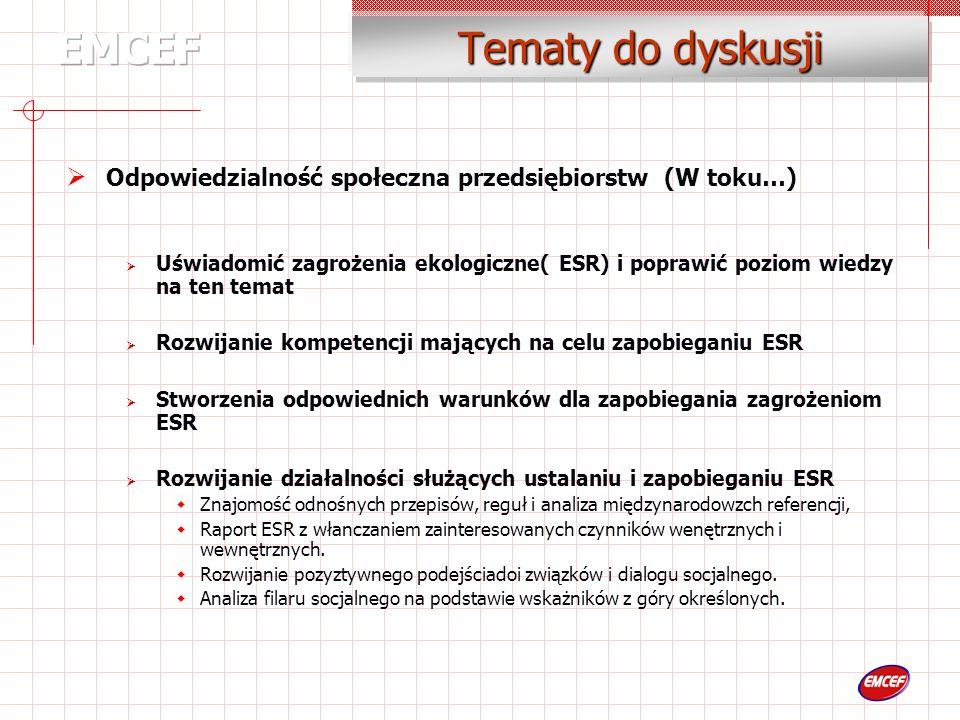 Tematy do dyskusji Odpowiedzialność społeczna przedsiębiorstw (W toku…) Uświadomić zagrożenia ekologiczne( ESR) i poprawić poziom wiedzy na ten temat Rozwijanie kompetencji mających na celu zapobieganiu ESR Stworzenia odpowiednich warunków dla zapobiegania zagrożeniom ESR Rozwijanie działalności służących ustalaniu i zapobieganiu ESR Znajomość odnośnych przepisów, reguł i analiza międzynarodowzch referencji, Raport ESR z włanczaniem zainteresowanych czynników wenętrznych i wewnętrznych.