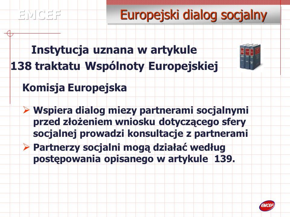 Komisja Europejska Wspiera dialog miezy partnerami socjalnymi przed złożeniem wniosku dotyczącego sfery socjalnej prowadzi konsultacje z partnerami Partnerzy socjalni mogą działać według postępowania opisanego w artykule 139.