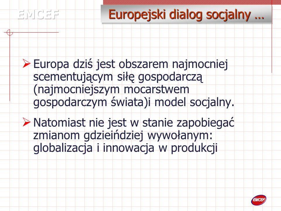 Branżowe Komisje Dialogu Społecznego 31 Branżowych komisji EMCEF : 3 Branżowe komisje (Energie Elektryczna, Górnictwo, Przemysł Chemiczny… I Pzemysł gazu ziemnego…) Charakterystyka : Europejskie Rady Zakładowe (Na szczeblu przedsiębiorstw ) 700 ERZ w Europie 215 ERZ w ramach EMCEF … oparty na trzech filarach I państwa członkowskie…