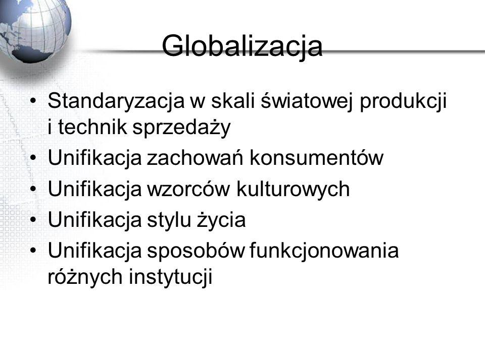Globalizacja Standaryzacja w skali światowej produkcji i technik sprzedaży Unifikacja zachowań konsumentów Unifikacja wzorców kulturowych Unifikacja s