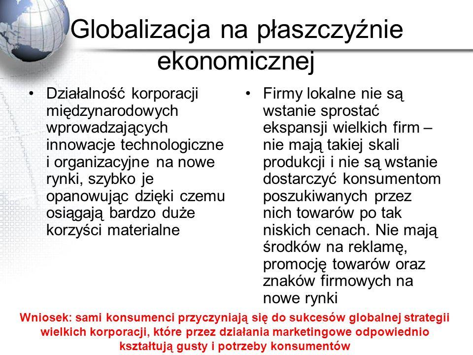 Globalizacja na płaszczyźnie ekonomicznej Działalność korporacji międzynarodowych wprowadzających innowacje technologiczne i organizacyjne na nowe ryn
