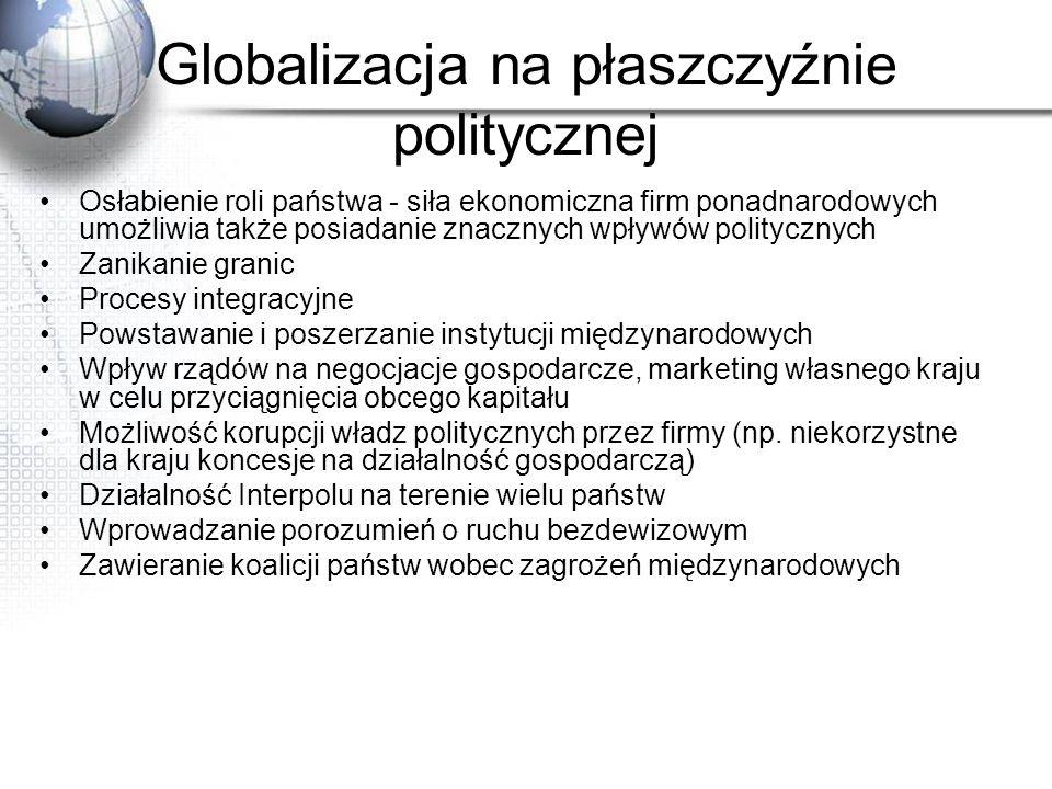 Globalizacja na płaszczyźnie politycznej Osłabienie roli państwa - siła ekonomiczna firm ponadnarodowych umożliwia także posiadanie znacznych wpływów