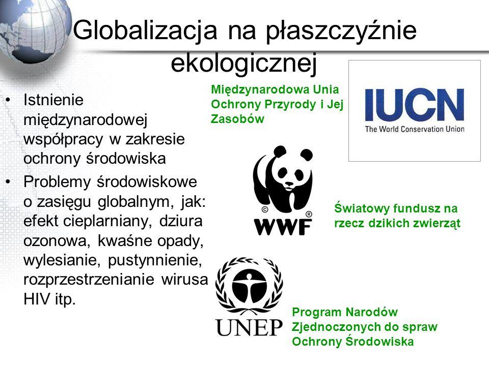 Globalizacja na płaszczyźnie ekologicznej Istnienie międzynarodowej współpracy w zakresie ochrony środowiska Problemy środowiskowe o zasięgu globalnym