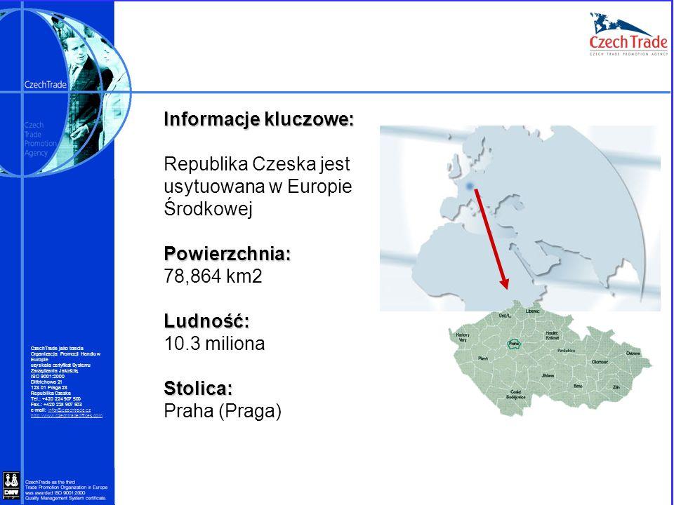 Informacje kluczowe: Republika Czeska jest usytuowana w Europie ŚrodkowejPowierzchnia: 78,864 km2Ludność: 10.3 milionaStolica: Praha (Praga) CzechTrad