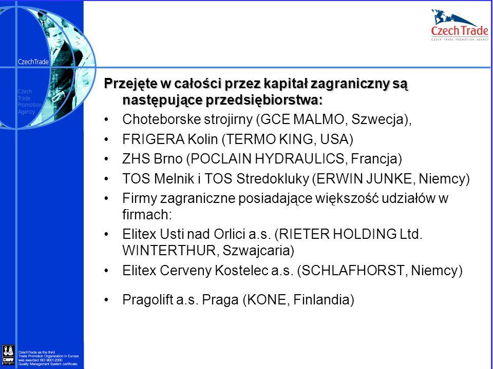 Przejęte w całości przez kapitał zagraniczny są następujące przedsiębiorstwa: Choteborske strojirny (GCE MALMO, Szwecja), FRIGERA Kolin (TERMO KING, U