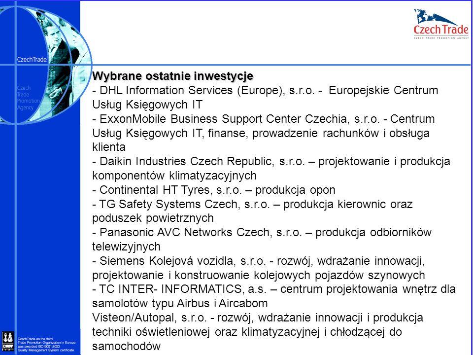 Wybrane ostatnie inwestycje - DHL Information Services (Europe), s.r.o. - Europejskie Centrum Usług Księgowych IT - ExxonMobile Business Support Cente