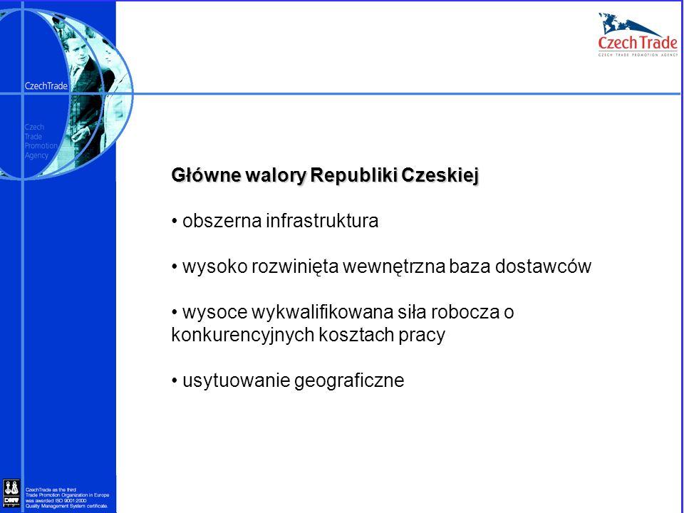 Główne walory Republiki Czeskiej obszerna infrastruktura wysoko rozwinięta wewnętrzna baza dostawców wysoce wykwalifikowana siła robocza o konkurencyj