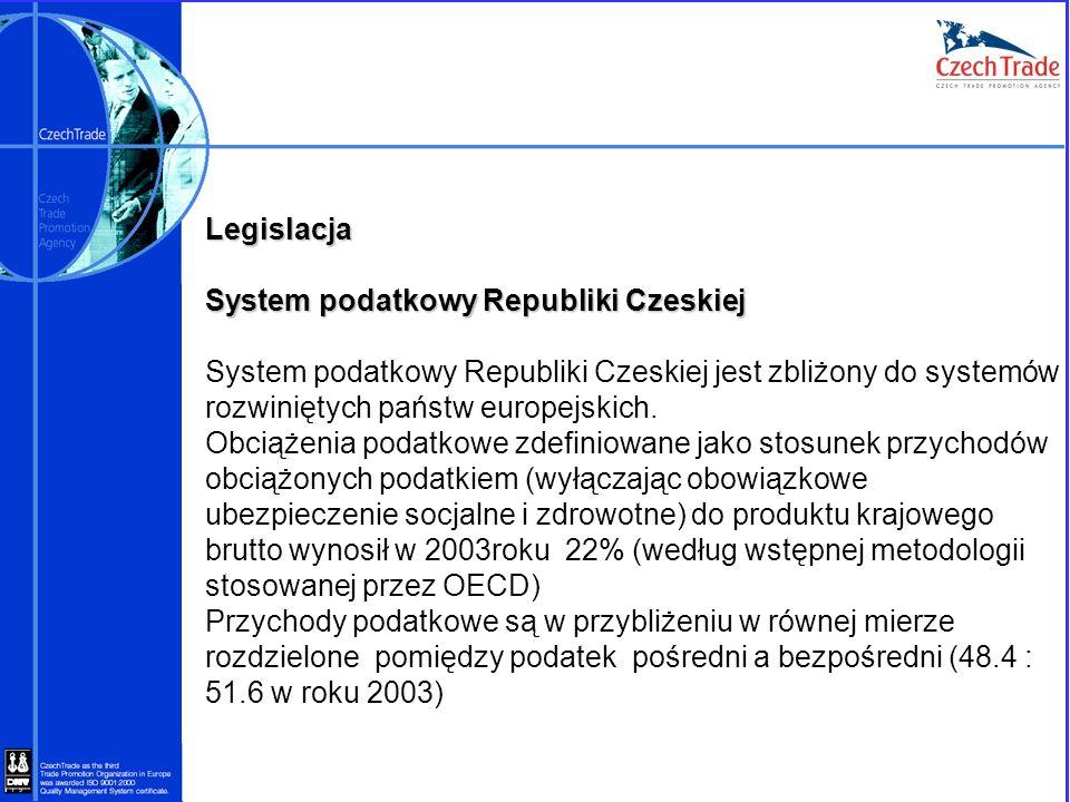 Legislacja System podatkowy Republiki Czeskiej System podatkowy Republiki Czeskiej jest zbliżony do systemów rozwiniętych państw europejskich. Obciąże