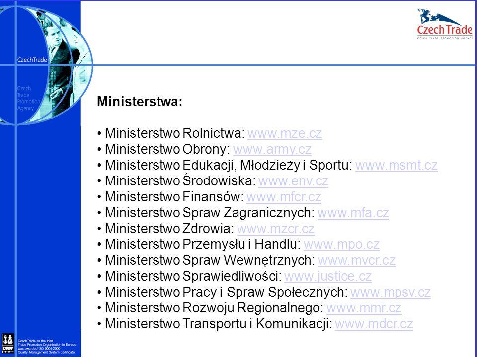 Ministerstwa: Ministerstwo Rolnictwa: www.mze.czwww.mze.cz Ministerstwo Obrony: www.army.czwww.army.cz Ministerstwo Edukacji, Młodzieży i Sportu: www.