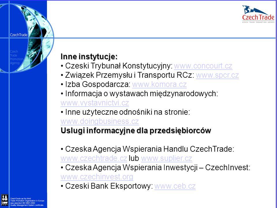Inne instytucje: Czeski Trybunał Konstytucyjny: www.concourt.czwww.concourt.cz Związek Przemysłu i Transportu RCz: www.spcr.czwww.spcr.cz Izba Gospoda