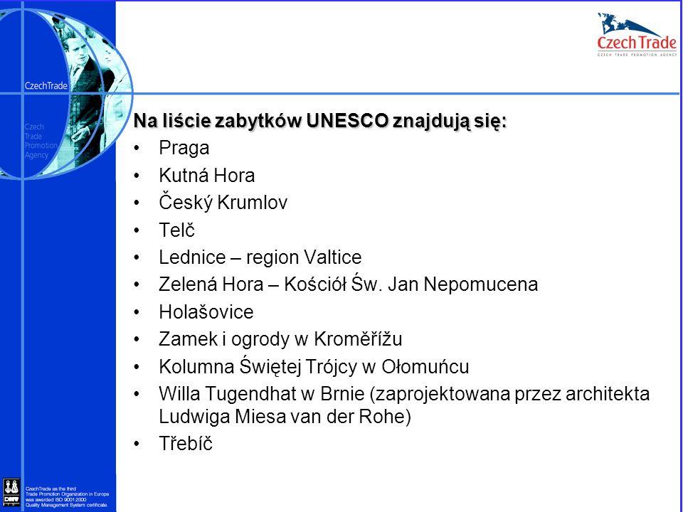 Na liście zabytków UNESCO znajdują się: Praga Kutná Hora Český Krumlov Telč Lednice – region Valtice Zelená Hora – Kościół Św. Jan Nepomucena Holašovi