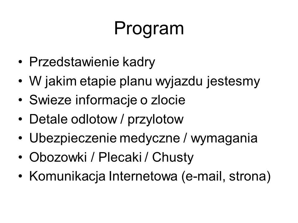 Program Przedstawienie kadry W jakim etapie planu wyjazdu jestesmy Swieze informacje o zlocie Detale odlotow / przylotow Ubezpieczenie medyczne / wyma