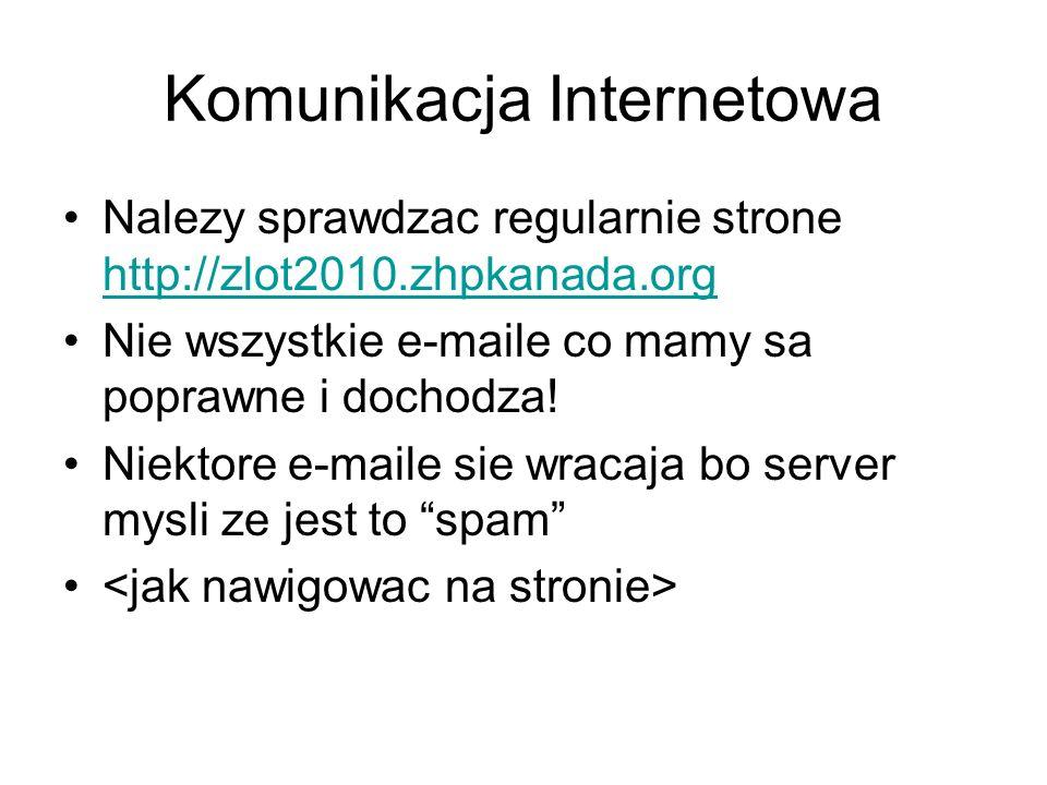 Komunikacja Internetowa Nalezy sprawdzac regularnie strone http://zlot2010.zhpkanada.org http://zlot2010.zhpkanada.org Nie wszystkie e-maile co mamy s