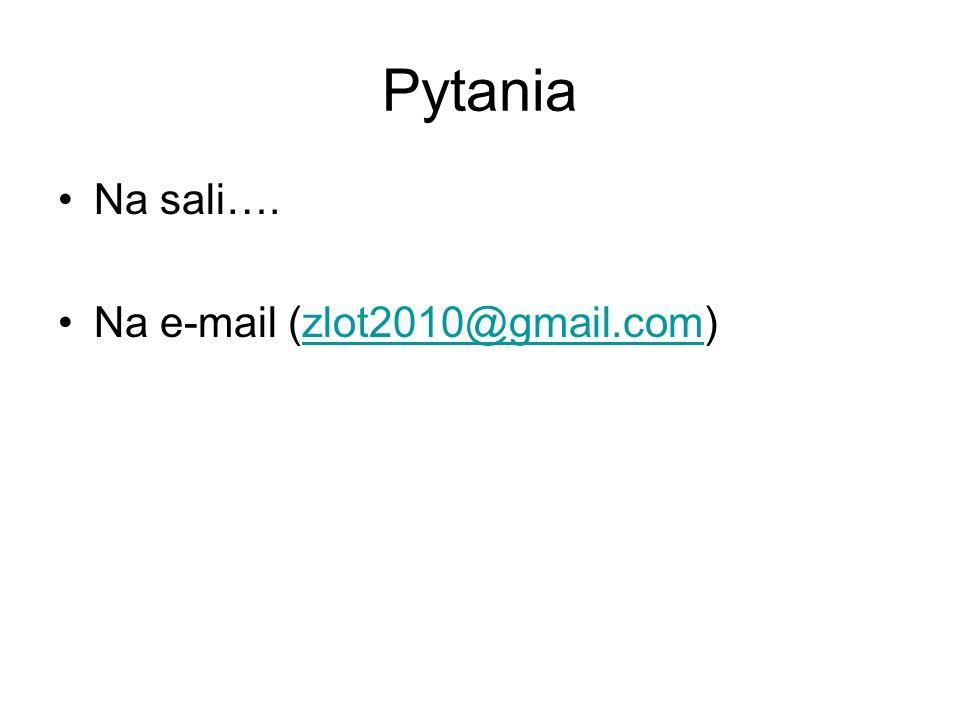Pytania Na sali…. Na e-mail (zlot2010@gmail.com)zlot2010@gmail.com