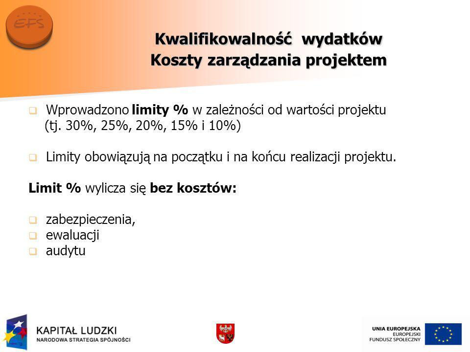 Kwalifikowalność wydatków Koszty zarządzania projektem Wprowadzono limity % w zależności od wartości projektu (tj.